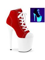 Тканевые ботинки-тройки FLAM800SK-02/RCA/NW Красно-белые Неоновые