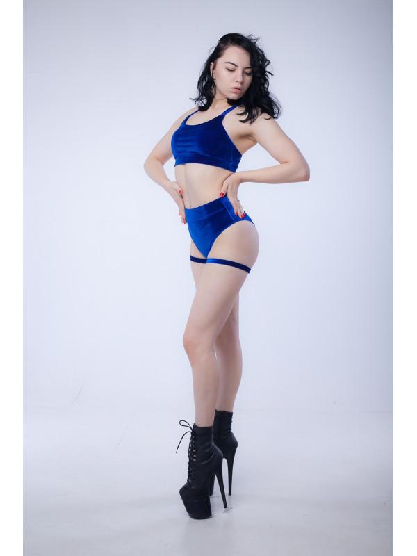 Бархатный костюм для занятий pole dance со стропами Синий