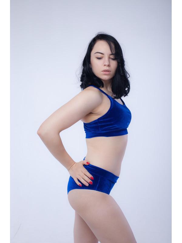 Бархатный костюм для занятий pole dance Синий