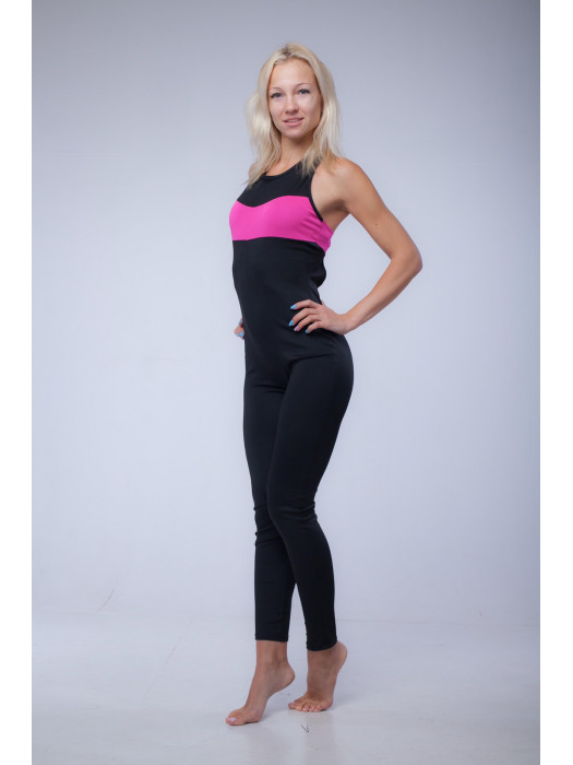 Комбинезон для воздушной гимнастики чёрный с розовым