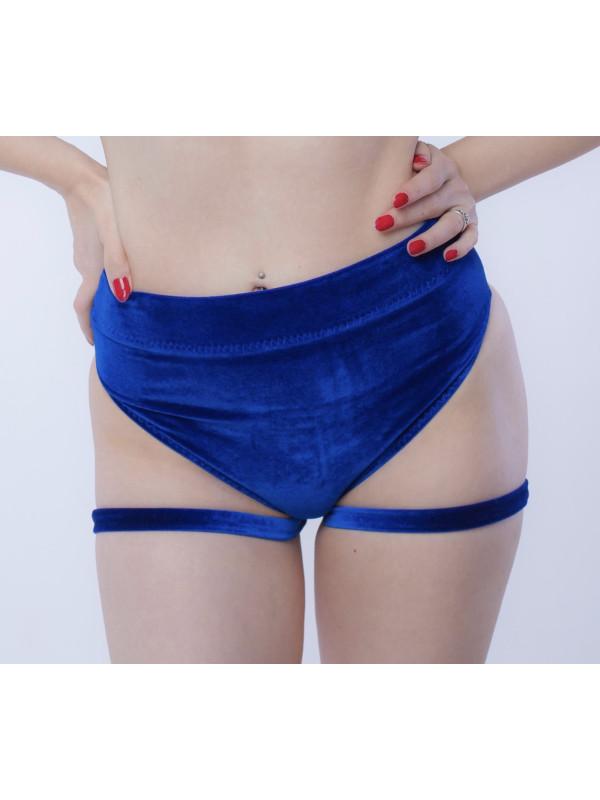 Бархатные шорты со стропами Синие