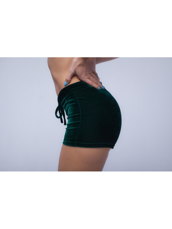 Бархатные шорты Зелёные