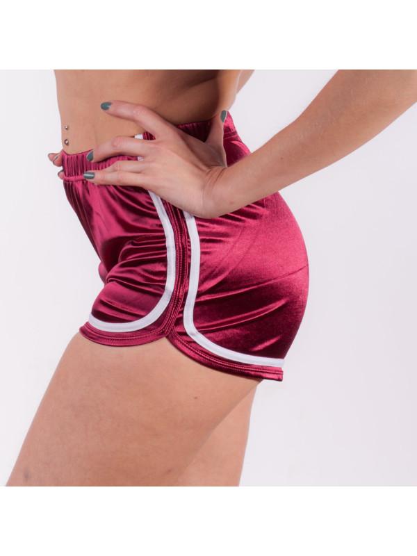 Высокие шорты на эластичной резинке Бордовые