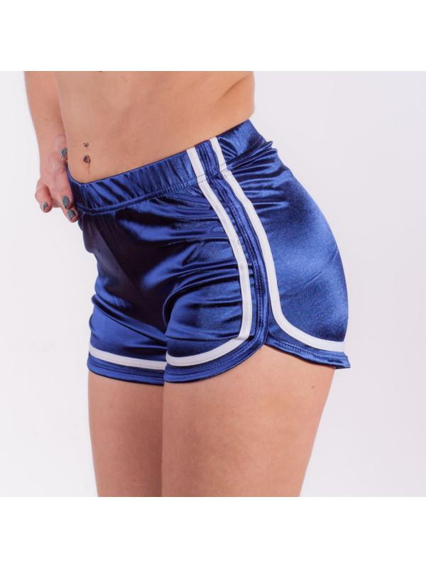 Высокие шорты на эластичной резинке Синие